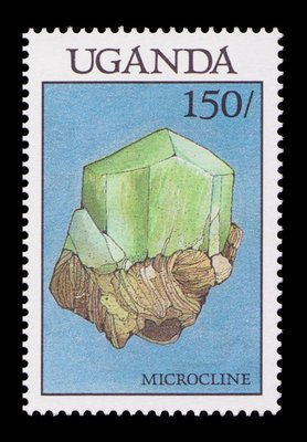 Microcline / Amazonite (timbre) - Ouganda - 1988 -- 12/07/08